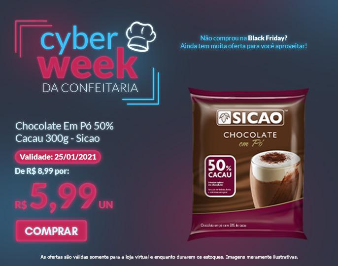CHOCOLATE EM PÓ 50% CACAU 300G SICAO