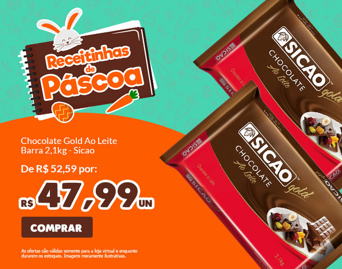 *CHOCOLATE GOLD AO LEITE BARRA 2,1KG SICAO