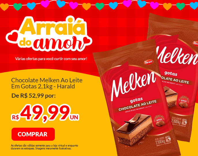 #CHOCOLATE MELKEN AO LEITE - GOTAS 2,1KG HARALD