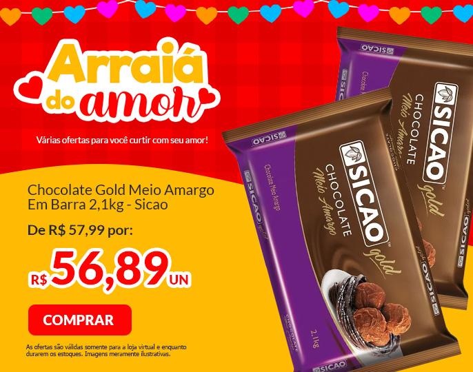 #CHOCOLATE GOLD MEIO AMARGO - BARRA 2,1KG SICAO