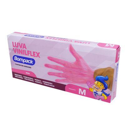 159449-Luva-Vinilflex-M-Sem-Po-Rosa-Com-100-UN---BOMPACK
